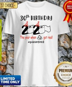 30th Birthday 2020 The Year When Shit Got Real Quarantined COVID-19 Shirt