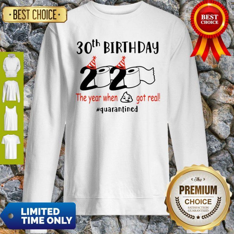 30th Birthday 2020 The Year When Shit Got Real Quarantined COVID-19 Sweatshirt