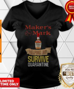 Maker's Mark Helping Me Survive Quarantine COVID-19 V-neck