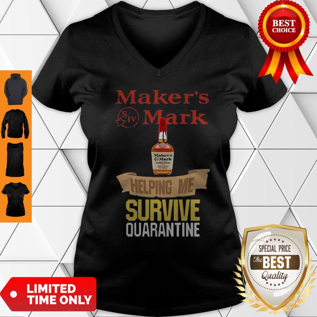 Maker's Mark Helping Me Survive Quarantine COVID-19 V-neck