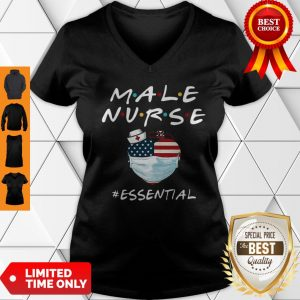 Male Nurse Heart Stethoscope #Esential American Flag V-neck