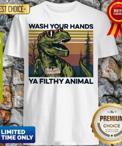 Top Dinosaur Wash Your Hands Ya Filthy Animal Vintage Shirt