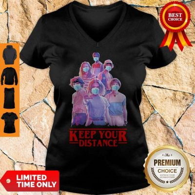 Stranger Things Eleven Mike Will Max Dustin Lucas Season Keep Your Distance COVID-19 V-neck