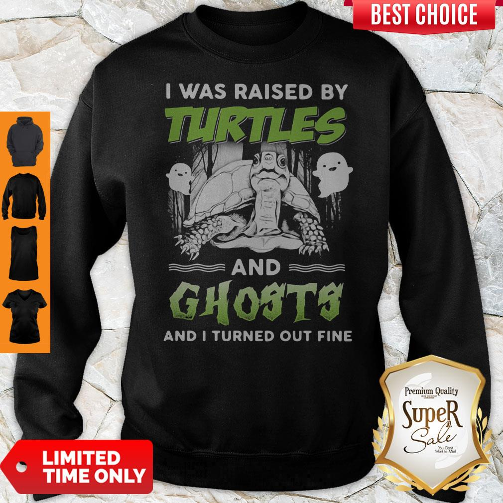 Top I Was Raised By Turtles And Ghosts And I Turned Out Fine Sweatshirt