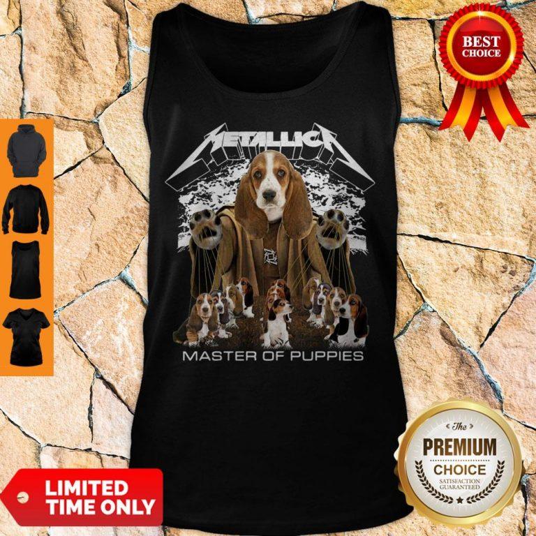 Official Metallica Basset Hound Puppy Master Of Puppies Tank Top