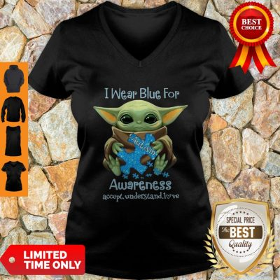 Baby Yoda I Wear Blue For Autism Awareness Accept Understand Love V-neck