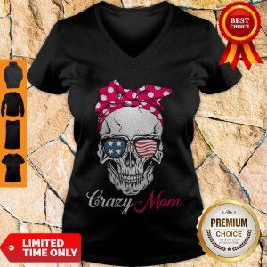 Top Skull Crazy Mom V-neck