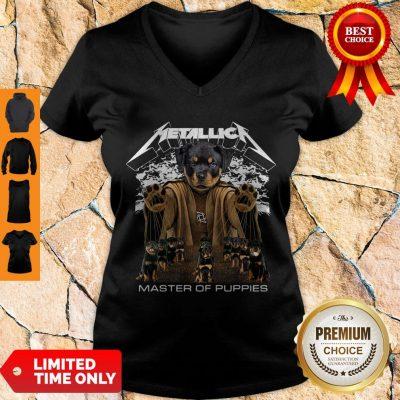 Top Metallica Austrian Black Master Of Puppies V-neck