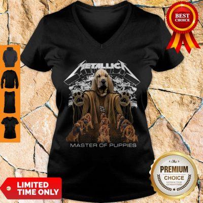 Premium Metallica Basset Hound Master Of Puppies V-neck