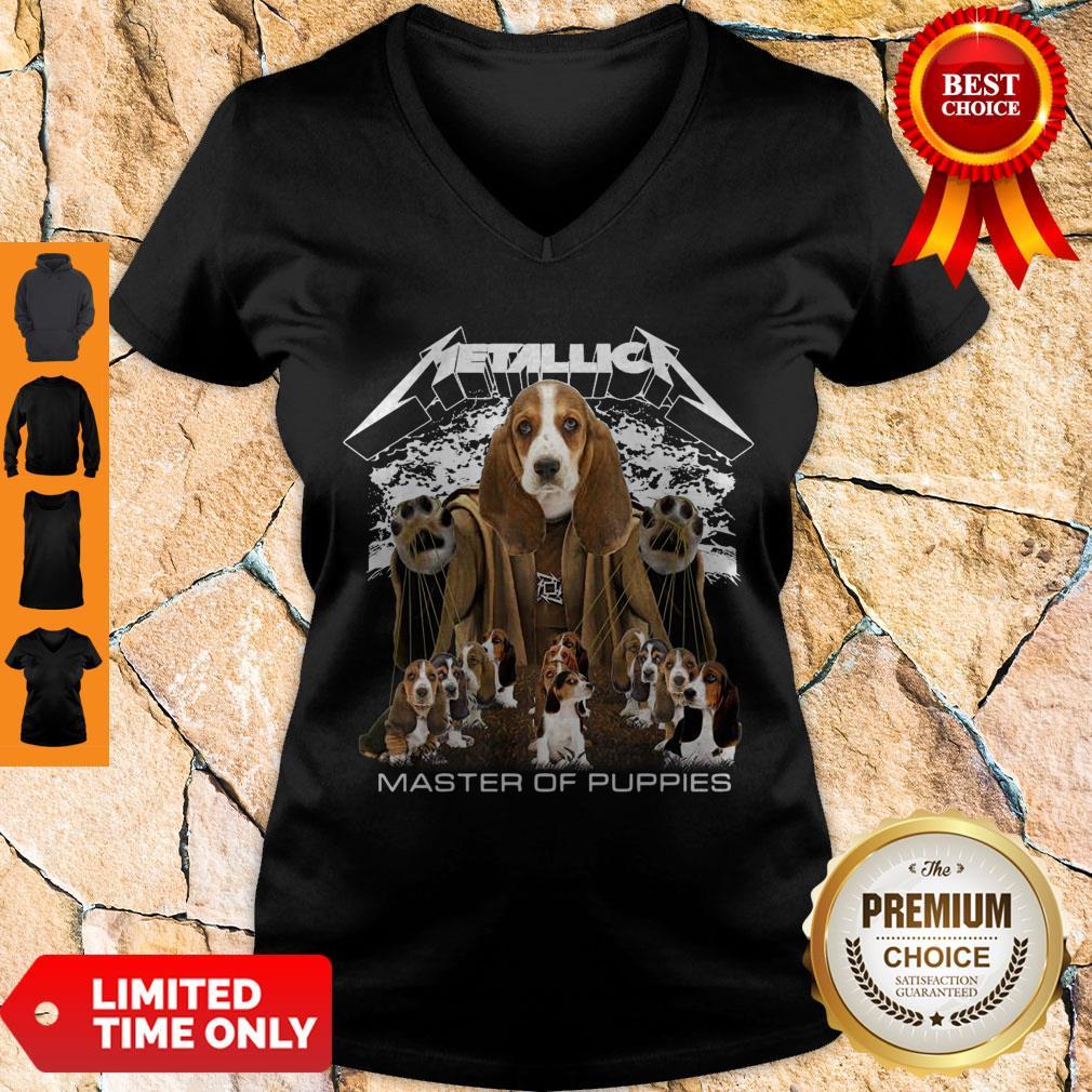Official Metallica Basset Hound Puppy Master Of Puppies V-neck