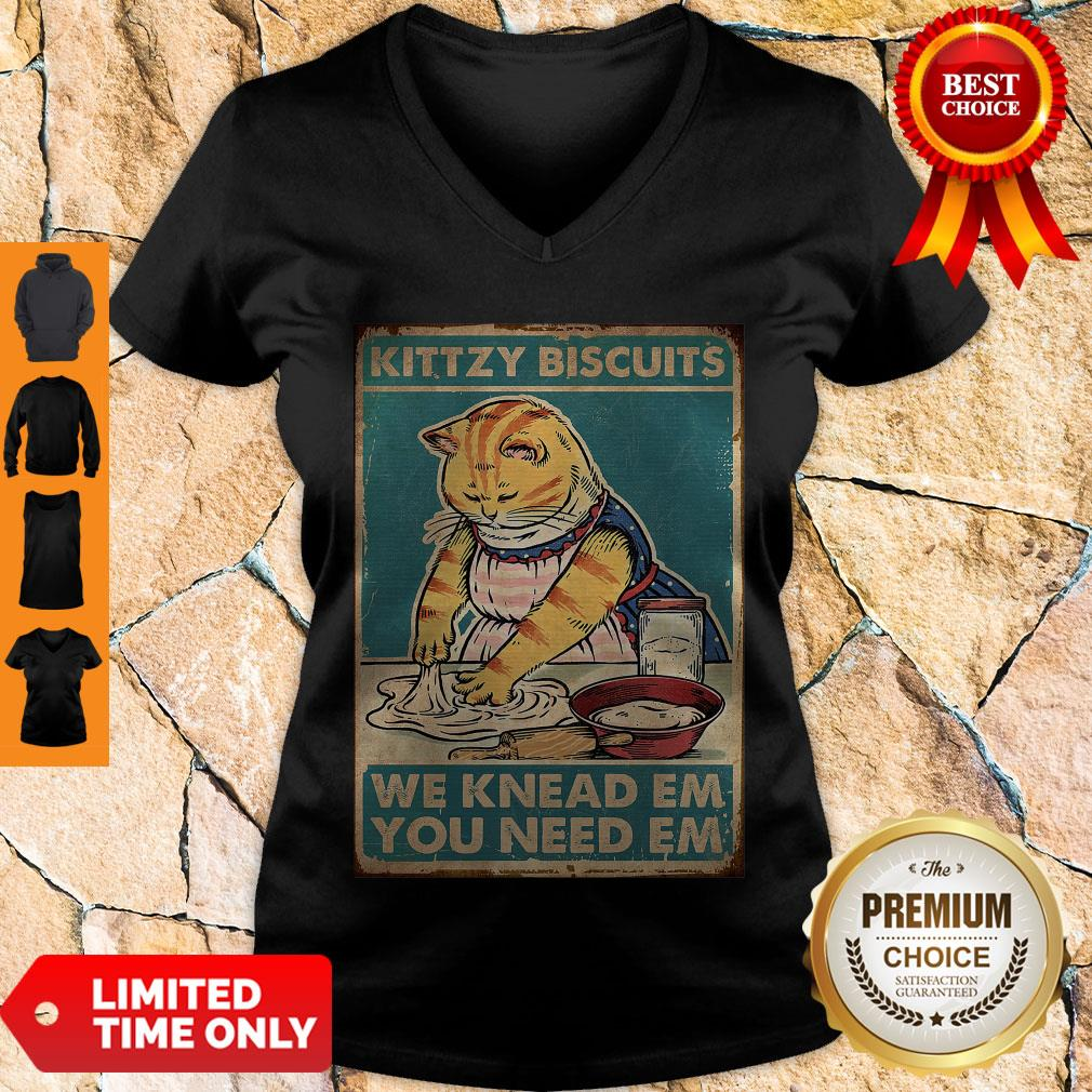 Official Funny Cat Kitty Biscuits V-neck