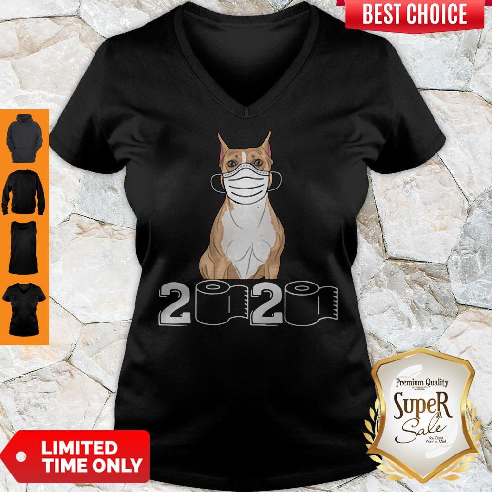 Funny Staffordshire Bull Terrier Mask 2020 Toilet Paper V-neck