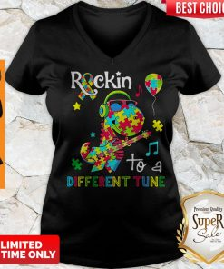 Official Dinosaur T Rex Rockin To A Different Tune Autism Awareness V-neck