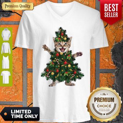 Funny Christmas Tree Cat Pine V-neck