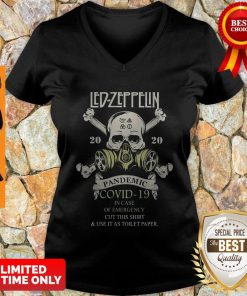Skull Led Zeppelin 2020 Pandemic COVID-19 In Case Of Emergency V-neck