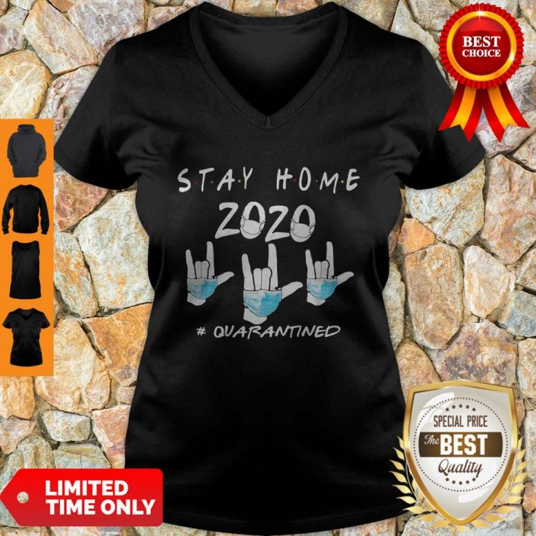 Rock Hand Sign Stay Home 2020 Quarantined COVID-19 V-neck