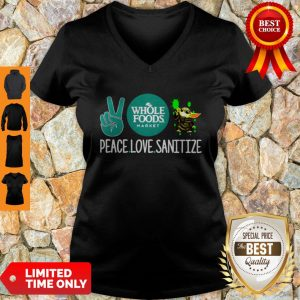 Peace Love Sanitize Baby Yoda Whole Foods Market COVID-19 V-neck