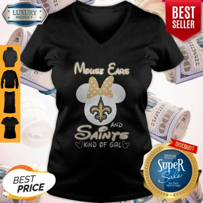 Cute Mouse Ears And New Orleans Saints Kind Of Girl V-neck