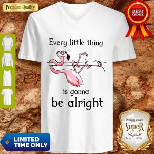 Flamingo Every Little Thing Is Gonna Be Alright V-Neck