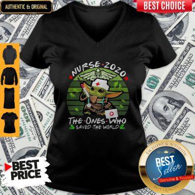 Good Star Wars Baby Yoda Nurse 2020 The Ones Who Saved The World Vintage V-neck