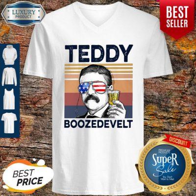 Hot American Flag Teddy Boozedevelt V-neck