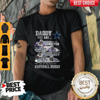 Hot Dallas Cowboys Daddy You Are As Strong As Witten As Fast As Elliott As Intelligent As Prescott Football Buddy Happy Father's Day Shirt