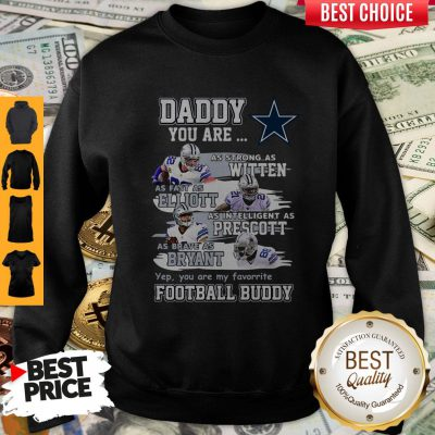 Hot Dallas Cowboys Daddy You Are As Strong As Witten As Fast As Elliott As Intelligent As Prescott Football Buddy Happy Father's Day Sweatshirt