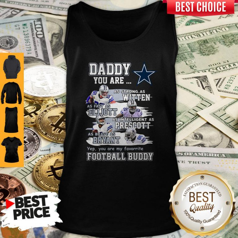 Hot Dallas Cowboys Daddy You Are As Strong As Witten As Fast As Elliott As Intelligent As Prescott Football Buddy Happy Father's Day Tank Top