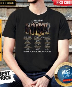 Premium 12 Years Of The Twilight Saga 2008 2020 5 Films 634 Minutes Thank You For The Memories Signatures Shirt
