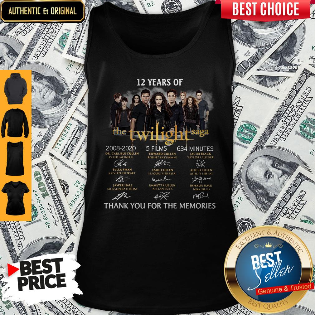 Premium 12 Years Of The Twilight Saga 2008 2020 5 Films 634 Minutes Thank You For The Memories Signatures Tank Top