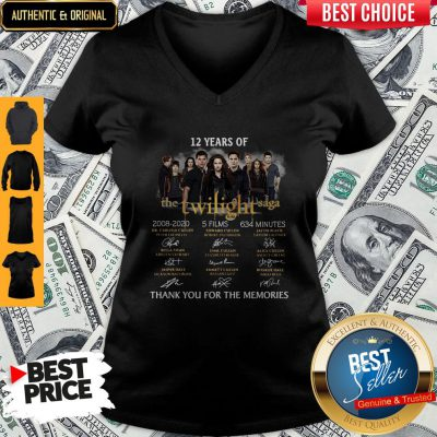 Premium 12 Years Of The Twilight Saga 2008 2020 5 Films 634 Minutes Thank You For The Memories Signatures V-neck