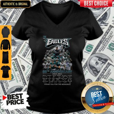 Pro The Philadelphia Eagles 88th Anniversary 1933 2021 Thank You For The Memories Signatures V-neck