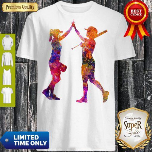 Softball Women Playing Color Shirt