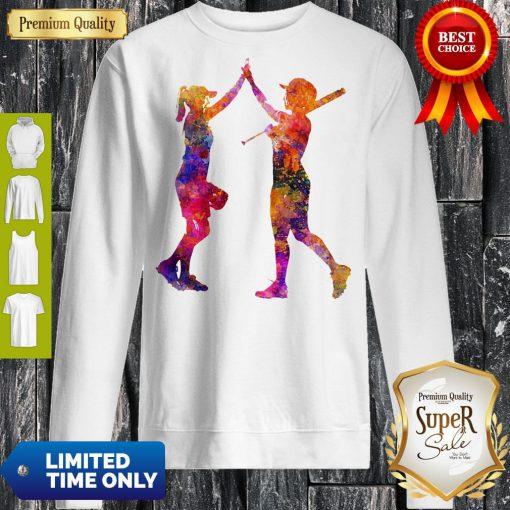 Softball Women Playing Color Sweatshirt
