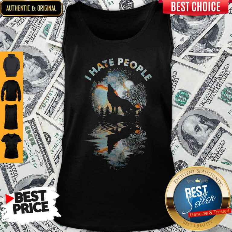Top Wolf I Hate People Mirror Tank Top