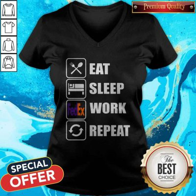 Attractive Eat Sleep Work Repeat V-neck