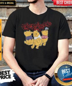 Beautiful Pooh Firework American Flag Independence Day Shirt