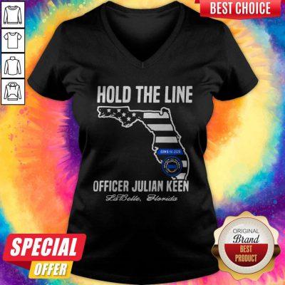 Funny Hold The Line Officer Julian Keen Jabette Florida V-neck