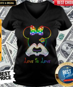 Funny Minnie Mouse Love Is Love Heart Lgbt V-neck