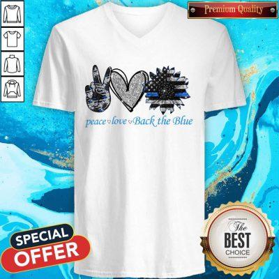Funny Peace Love Back The Blue V-neck