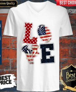 Nice Love Rugby American Flag Veteran Independence Day V-neck