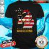 Nice Michigan Wolverine American Map Flag Shirt