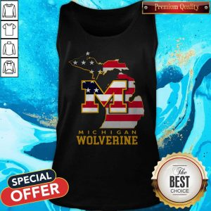 Nice Michigan Wolverine American Map Flag Tank Top