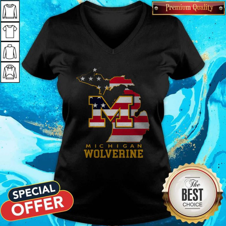 Nice Michigan Wolverine American Map Flag V-neck