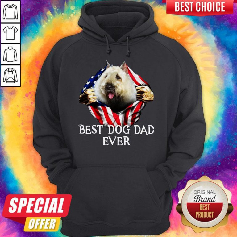 Premium Blood Inside Me Bouvier Des Flandres Dog American Flag Best Dog Dad Ever Hoodie