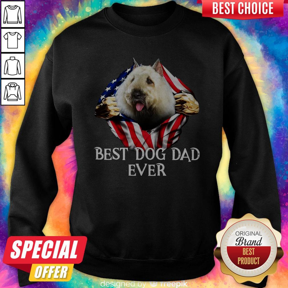 Premium Blood Inside Me Bouvier Des Flandres Dog American Flag Best Dog Dad Ever Sweatshirt