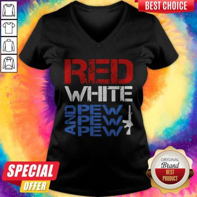 Premium Red White And Pew Pew Pew V-neck