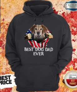 Pretty Blood Inside Me Brittany Dog American Flag Best Dog Dad Ever Hoodie