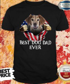 Pretty Blood Inside Me Brittany Dog American Flag Best Dog Dad Ever Shirt