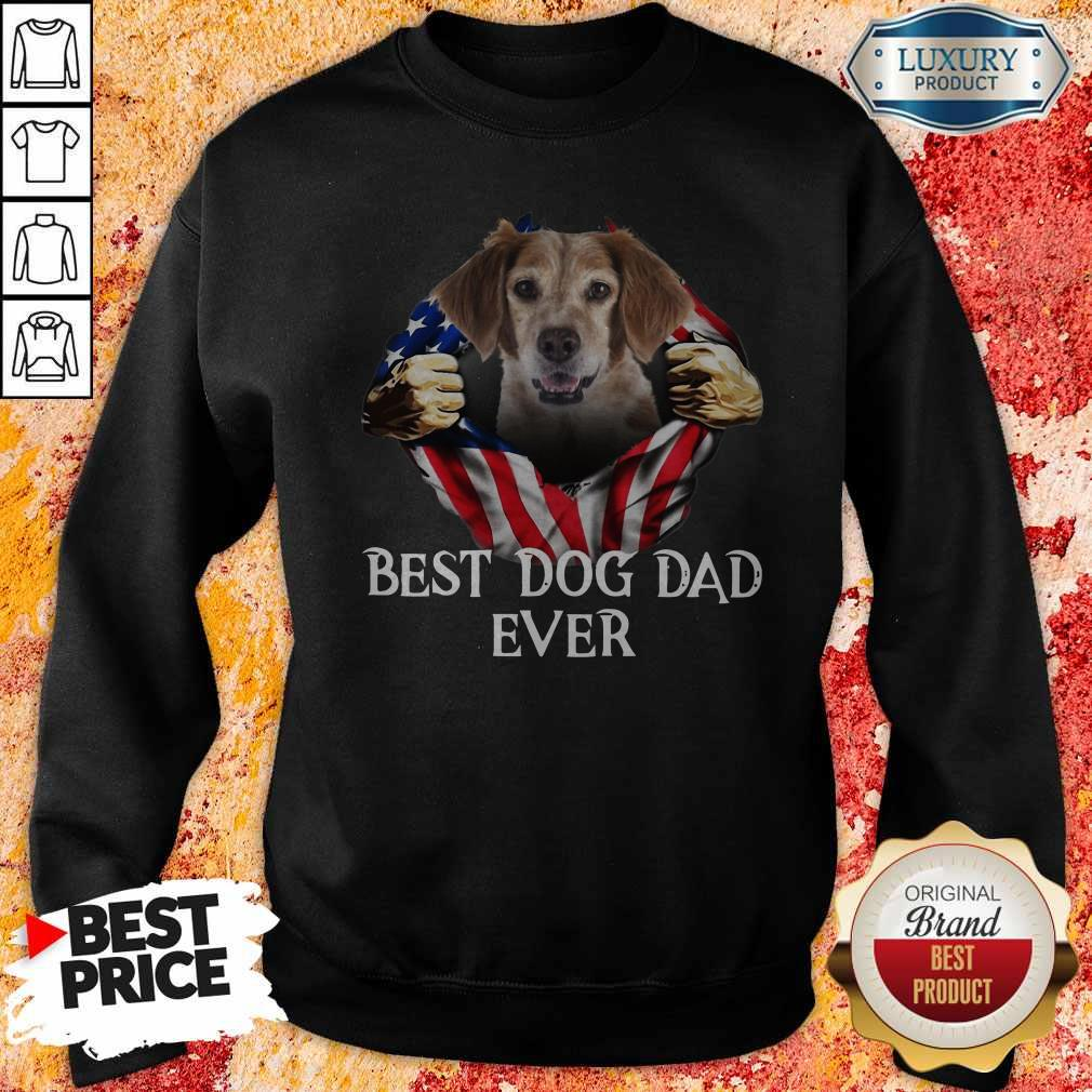Pretty Blood Inside Me Brittany Dog American Flag Best Dog Dad Ever Sweatshirt